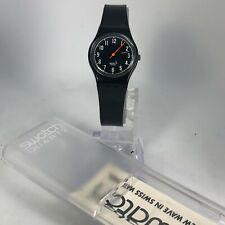 Swatch Womens 5755 Black Band Swiss Made Quartz Analog Watch AG 1992 Black Line