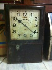 1910s ANGLO SWISS WATCH CO ANTIQUE VICTORIAN PUNCH CARD TIME RECORDER WALL CLOCK