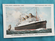 Holland-America Line Ship Tss Statendam Paquebot Rotterdam -New York Postcard