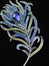 "NEW HEIDI DAUS TEAL GREEN PURPLE BIRD PEACOCK FEATHER PIN BROOCH JEWELRY 4.5"" 3D"
