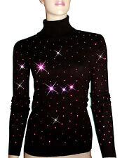 LUXE OH `DOR® 100% Cashmere Rollkragen Pullover schwarz black pink 42/44 M/L