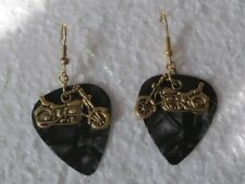 Gold Motorcycle / Motorbike on Black Dangle Wire Handmade Earrings, Freedom