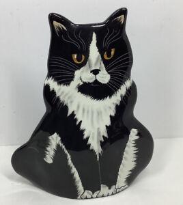 Cats By Nina Lyman  Ceramic Black And White Tuxedo Cat Vase