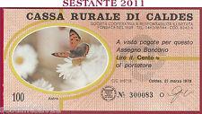 CASSA RURALE DI CALDES LIRE 100 21.03. 1978 ASTRO BEIGE FDS C4