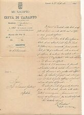 ITALY 1894 CITY OF TARANTO OFFICIAL PROTOCOL MAILED