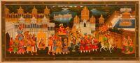 Hand painted Indian Procession Rajput King Maharaja Silk Art Work Classic India