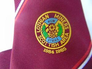 VINTAGE GENUINE COAL MINING MINERS NECK TIE LOTHIAN MINERS SCOTTISH AREA 1985