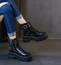 Women Patent Leather Motorcycle Punk Ankle Boots Buckle Belt Zip Shoe Zsell