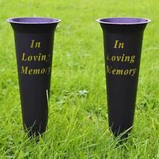 2 X in Loving Memory Spiked Memorial Grave Flower Vases Container Holder Black