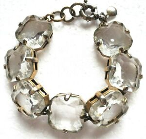 J. Crew Bracelet Fashion Glass Crystal Statement Gold Toned 8 in Spring Clasp