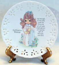 1994 Precious Moments Confirmation Blessings Plate & Stand Young Lady