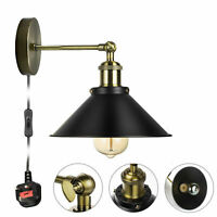 Iron Vintage Retro Industrial Loft Fixture Rustic Wall Sconce Lamp Light +Bulb