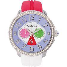 Tendence CRAZY Orologio Rosso Bianco Cinturino in gomma multicolor Dial CHRONO tg460406