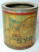 Antique Vintage 1930s Victor Brand Syrup ADVERTISING TIN Roman Fighting Graphic