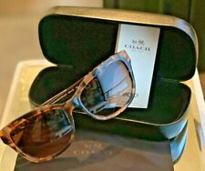 AUTHENTIC COACH Sunglasses- Peach Tortoise Dark Brown with Silver& leather -used