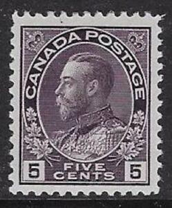 Canada 5¢ Violet 1923 Admiral Sc #112 Wet Printing, F/VF, H/OG, CV $40.00-dw18k