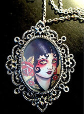 Pin Up Tattoo Girl Large Antique Silver Pendant Brooch Necklace Goth Rockabilly