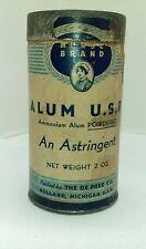 Alum U.S.P. An Astringent, Ammonium, The De Pree Co 2 oz  Empty Container