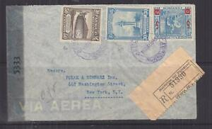 PARAGUAY, 1945 Reg. Airmail Censored cover to USA, 5c., 30c. & 50c.