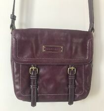 Tignanello Crossbody Bag Wine Distressed Vintage Leather Flap Adjustable Strap
