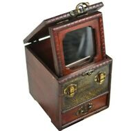 Vintage Wooden Jewelry Storage Box Treasure Chest Organizer Gift Box 14x12cm