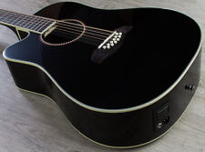 Oscar Schmidt OD312CE-BLH Left-Handed 12-String Acoustic/Electric Guitar Black