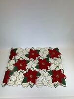 St Nicholas Square Christmas Fabric Table Runner Red Poinsettias Holly 13 x 36
