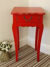 Large Red Bedside Cabinet 1 Drawer Lamp Table Distressed Vintage French Style