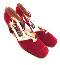 GIVENCHY - Jewel Rhinestone Buckle Red Velvet Ankle Strap High Heel Pumps 7.5 B