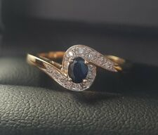 9ct yellow Gold natural blue sapphire and Diamond twist design Ring size M
