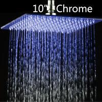 "Bathroom Stainless Steel 10""LED Square Shower Head Rain Sprayer Faucet"