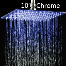 """New Square Stainless Steel Bathroom 10"""" LED Shower Head Chrome Mixer Taps Faucet"""