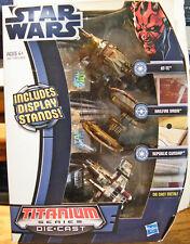 NEW Star Wars TITANIUM SERIES Set of THREE Die-Cast Vehicles w/Stands ~ Galoob