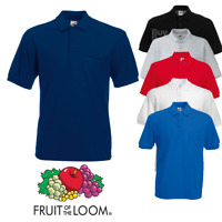 Fruit of the Loom MEN'S POLO SHIRT GOLF TENNIS WORKWEAR CLASSIC TOP POCKET S-3XL