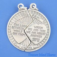 MIZPAH COIN TWO PART TO SHARE WITH VERSE .925 Sterling Silver Charm or Pendant