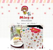 #71 Ming-e cute happy girl deco PVC stickers 4 sheets/set