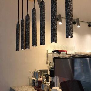 Slim Tube Cafe Bar Pendant Lamp Modern Terrazzo Hanging Light Fixture Home Deco