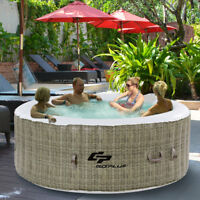 4 Person Inflatable Hot Tub Outdoor Jets Portable Heated Bubble Spa Massage New
