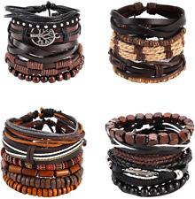 OMONT 21PCS Mixed Wrap Braided Leather Wristbands Bracelets and Wood Beads Set