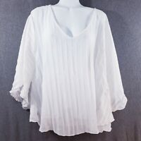 Paper + Tee Womens Top Dolman Sleeve Sheer White Tunic Size Large Pull On Pleat