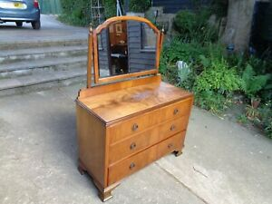 WALNUT DRESSING CHEST WITH MIRROR  AND OGEE FEET