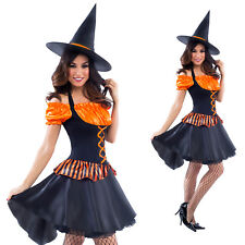 Womens Witch Fancy Dress Costume with Hat Ladies Orange Halloween Witch Outfit
