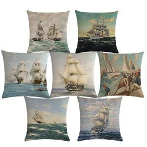 Nautical Sailing Boat Cushion Cover Sea Sailboat Linen Throw Pillow Case Decor