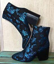 NIB Anthropologie Bettye Muller black blue Metallic Brocade Fabric Zip Boots 7.5