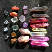 A Lot Quartz Crystal Rainbow Angel Aura Point Sphere Rough Mineral Reiki Healing