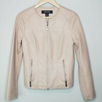 Kenneth Cole Reaction Moto Jacket Pale Pink Faux Leather Full Zip Womens S Biker