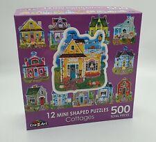 12 Mini Shaped Puzzles - Cottages - 500 Pieces (total)
