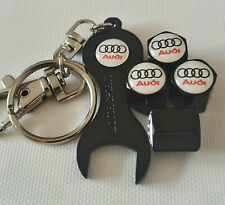 AUDI WHITE BLACK DUST VALVE CAPS SPANNER LIMITED ALL MODELS RETAIL PACK S LINE