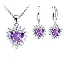 925 Sterling Silver Purple Heart AAA Grade Cubic Zirconia Bridal Jewellery Set.