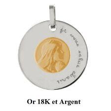 """Déstockage Pendentif Médaille Argent et La Vierge Or 18K """"Je vous salue Marie"""""""